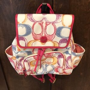 Coach Multicolor Scribble Print Backpack